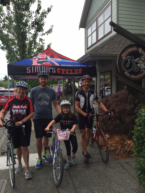 The Comox Valley gets on their bikes for YANA, from left to right: volunteer, Jill Grant, 25km riders Aaron and Sophie Clark, sponsor and 100km rider Dr. Andreas Conradi.